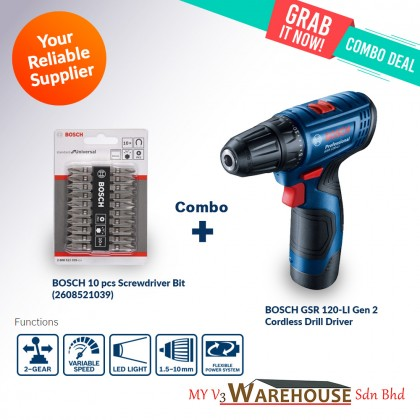 BOSCH Cordless GSR 120-LI 12V GEN 2 Drill/Driver FREE 2 Batteries, Charger & Carrying Case / COMBO with Bits / XLINE
